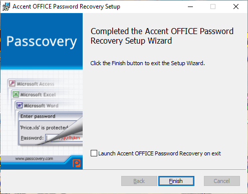 Instalar Accent OFFICE Password Recovery
